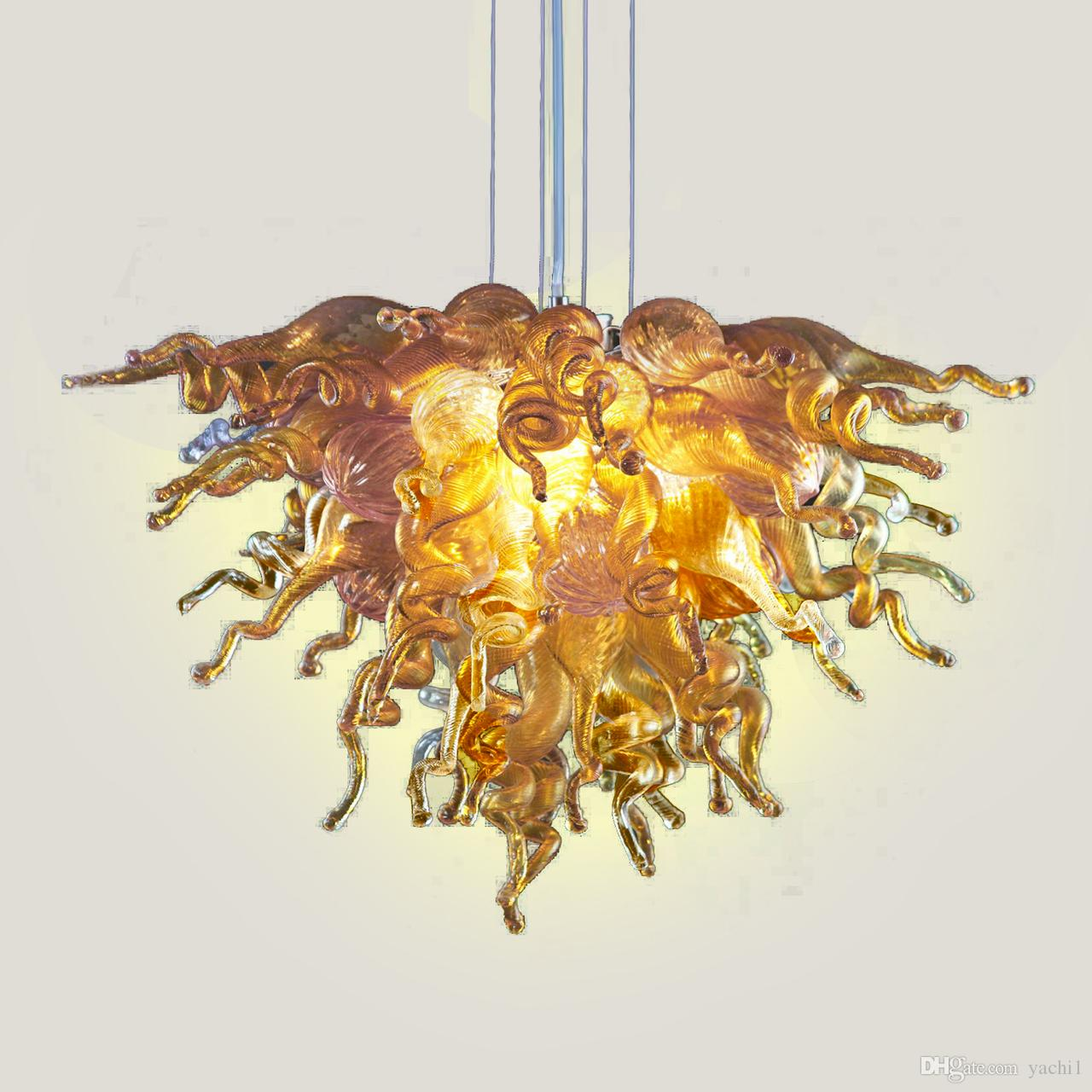Art Design Frosted Blown Glass Gold Chandelier Pendant Lamps Best Designed Custom Made Murano Glass Modern Crystal LED Chandelier Home