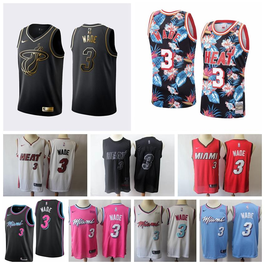 the best attitude 6275d 19874 2020 Mens Dwyane Wade Floral Black Swingman Jersey Stitched Embroidery Wade  Glory MVP Jersey Miami Heats The City New Edition Shirts
