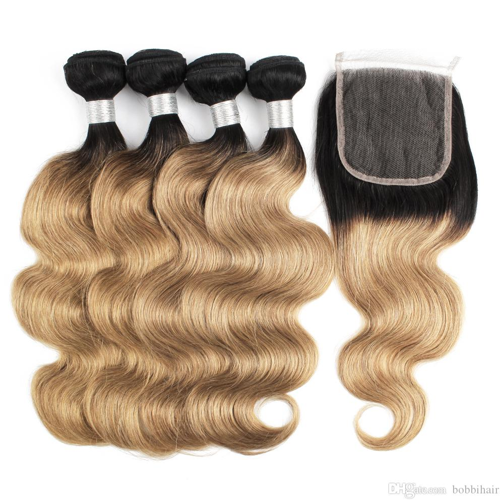 Indian Curly Bundles With Closure #27 Honey Blonde Color Human Hair Weave 3 Bundles With 4x4 Lace Closure Double Weft Hair Hair Extensions & Wigs