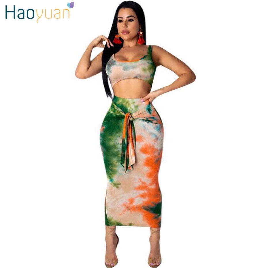 aa4557c03f6a1a Sexy Deux Tenues Club Tie Dye Crop Top Midi Jupe Ensemble Moulante 2 Pièce  Vêtements D été Femmes Ensembles Assortis C19041502