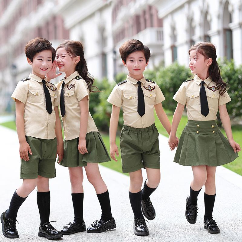 Student Kids School Training Army Suit Children Boys Military Uniform Summer Camouflage T-shirt+shorts/skirt Tactical Set 2pcs SH190908