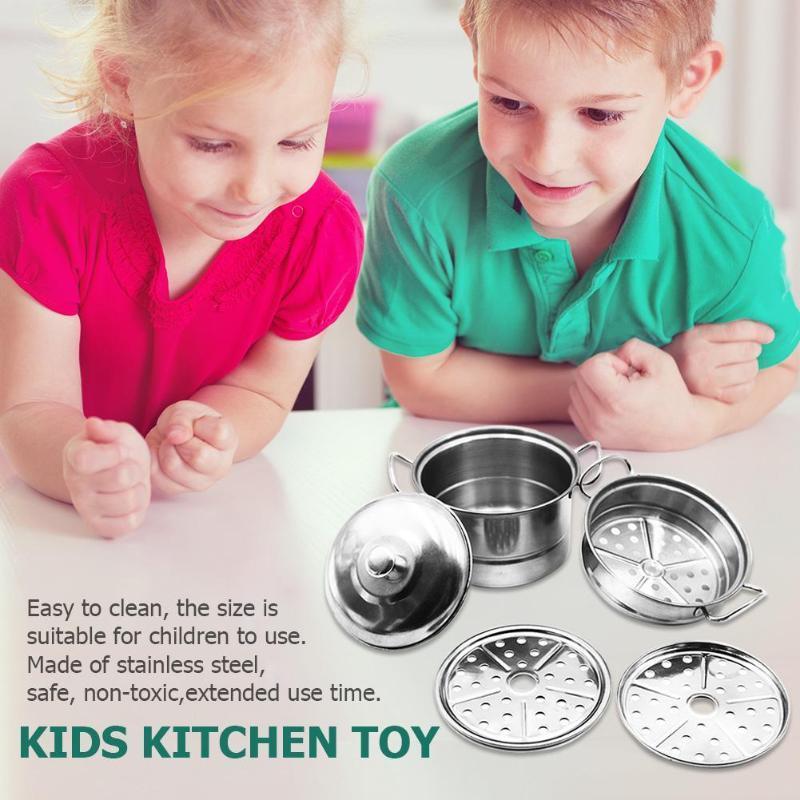2019 Kids Stainless Steel Kitchen Toy Pot Pans Mini Cooking Toys