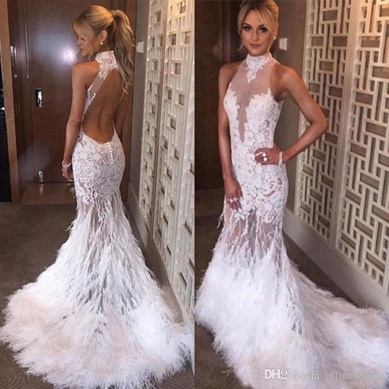 bdd217eea2 White Feather Appliques Mermaid Prom Dresses 2019 High Neck Hollow Back  Illusion Bodice Sweep Train Long Evening Pageant Party Gowns Online with ...