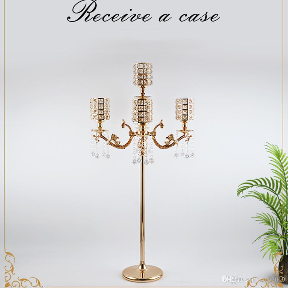 "New Arrival Gold Candelabras 43""Tall 5-arms Candelabrum Metal Candle Holder Luxury Candle Stands For Home Decoration"