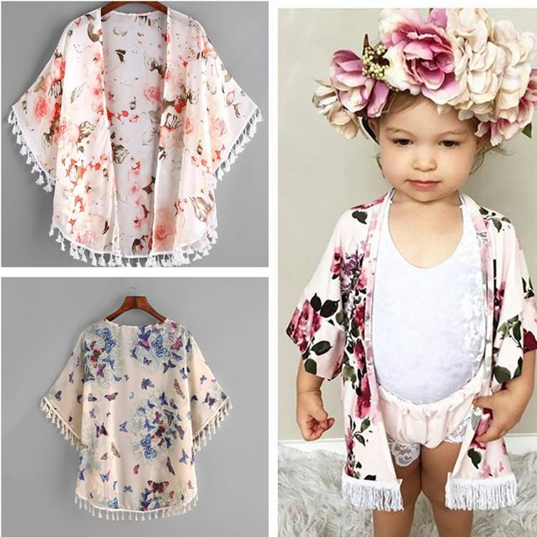 more photos 10f62 83f8c Mode Baby Mädchen Kleidung Niedlichen Sommer Dünne Mäntel Kleinkind Mädchen  Blume Quaste Kimono Schal Strickjacke Tops Outfits Baby Kinder Kleidung ...