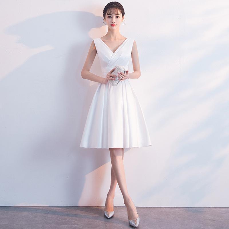 375eacedcc65b Satın Al Abiye Seksi V Kurşun Kısa Fon Beyaz Elbise Bel Her Iki Omuz ...