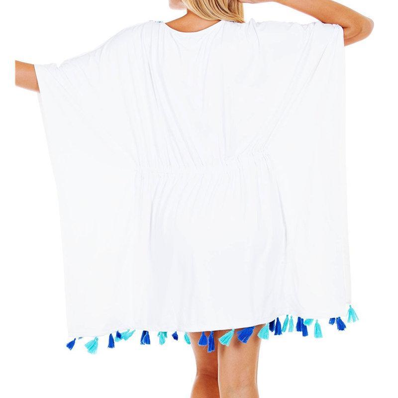 new style f092a 06987 2019 Baumwolle Stickerei Kleid Tunika Strand Vertuschungen für Frauen Pareo  de Plage Badeanzug vertuschen Strand Sarongs Bademode Kaftan
