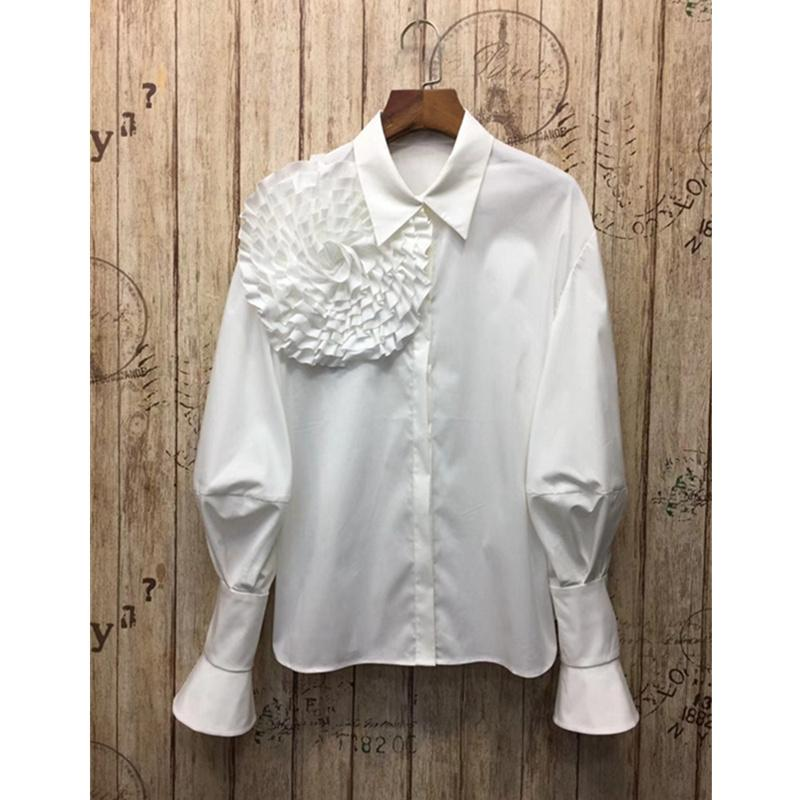 LUO SHA 2019 Women's Long Sleeve Blouse Big Flower Cotton Blouse Shirt Office Ladies Woman Shirt Blouse Blusas Mujer T190611