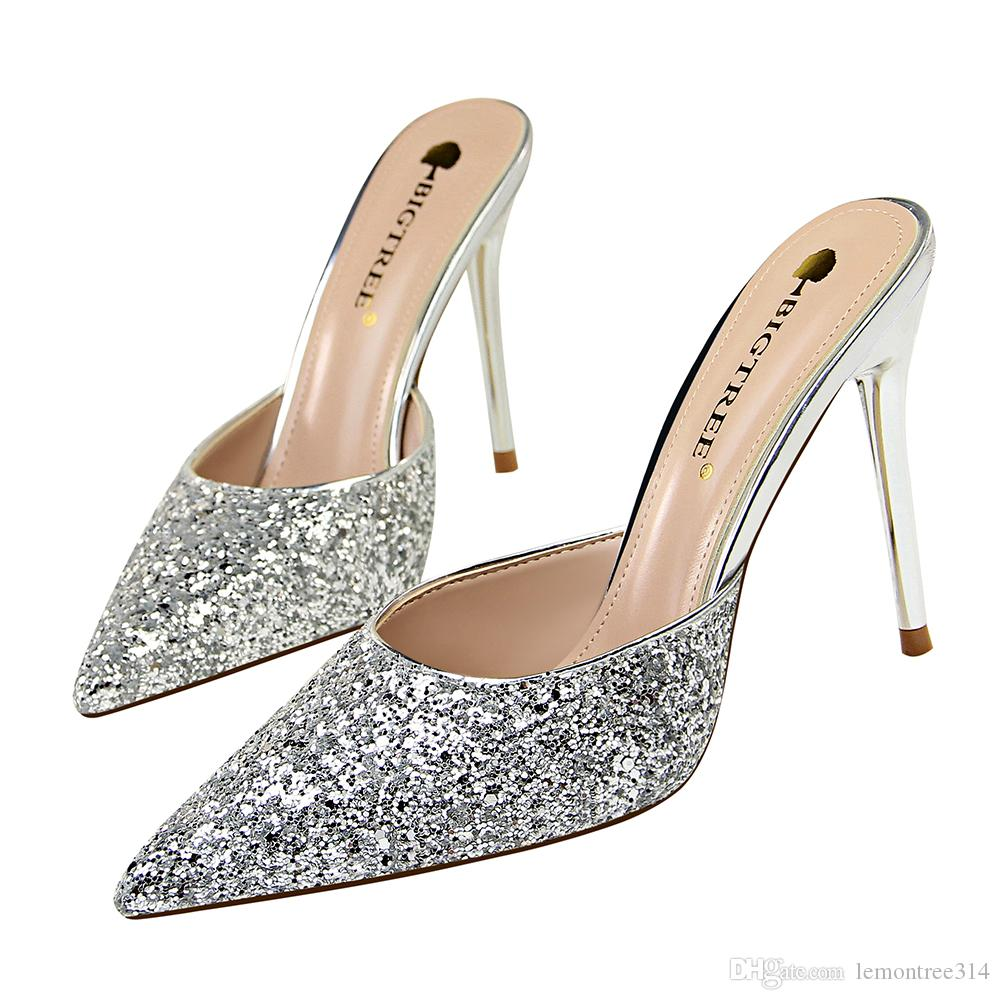 0be48331a52 Women Sexy Glitter Stiletto Heel Slipper Pointed Toe Sandal Sequin Slippers  Lady High Heels Party Eveing Ball Dress Shoes Pumps