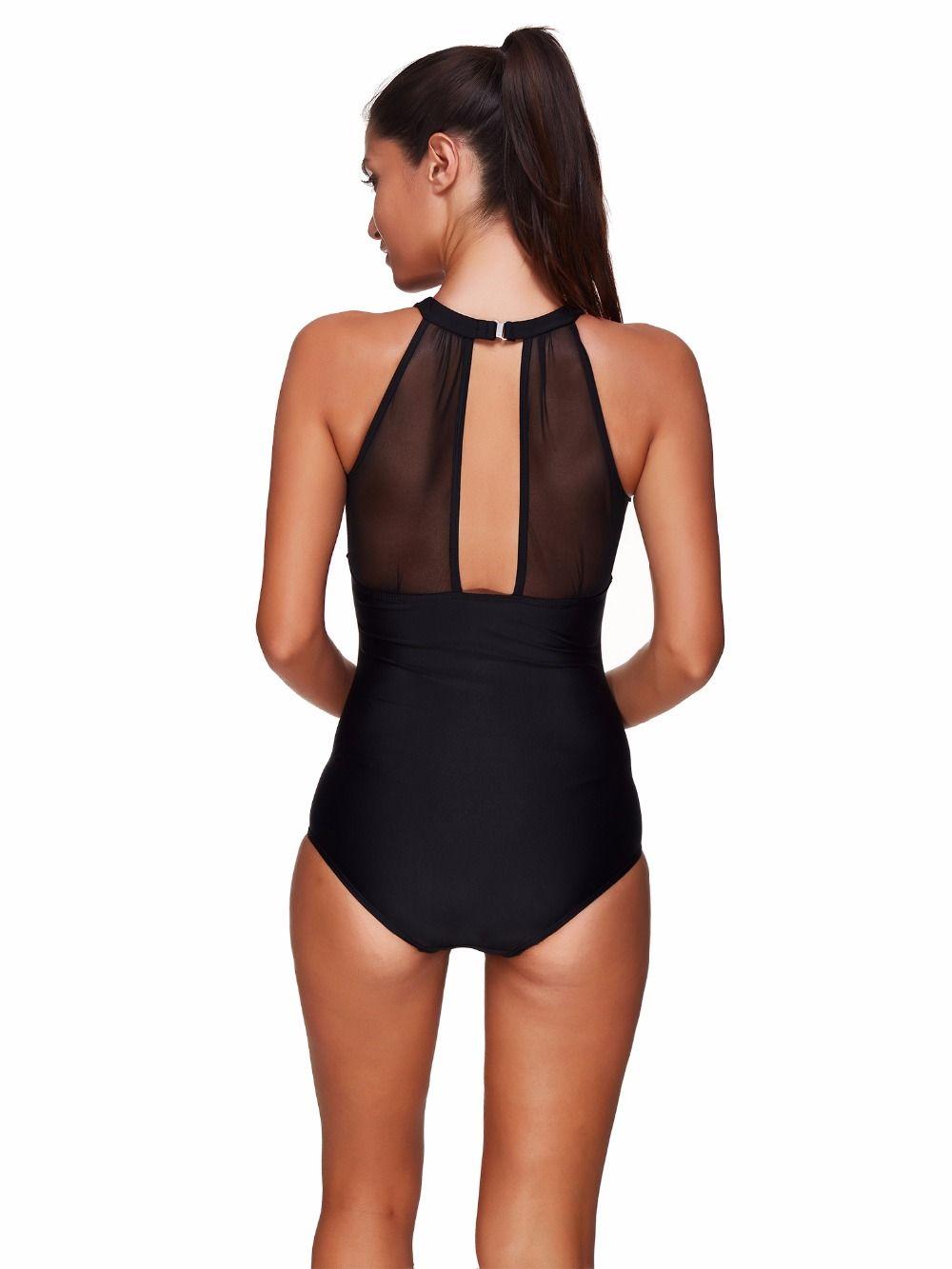 Sexy One Piece Swim Suits 2019 Swimwear Women Mesh Deep V Neck Solid Black High Neck Monokini Swimsuits Push up Bathing Suits