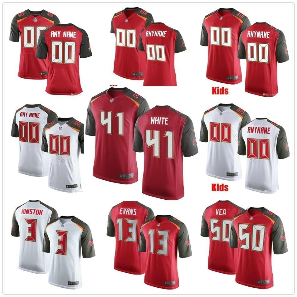 hot sale online 79b8b 24224 Custom New Tampa Bay 41 Devin White Sean Bunting Jamel Dean Mike Edwards  Anthony Nelson 50 Vea Men Women Youth Buccaneers Stitched Jerseys