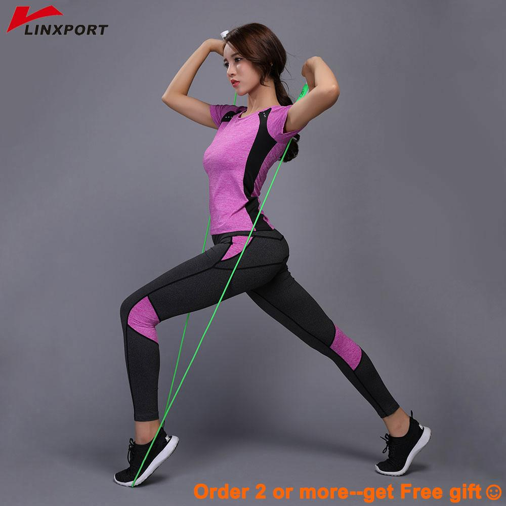 Sexy Compressed Leggings Gym Fitness Clothes Tennis Shirt+pants Plus Size Sport Suit Reflective Women Yoga Capris Set C19040301