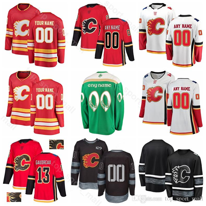 the latest 020fb 8a468 Calgary Flames Ice Hockey 13 Johnny Gaudreau Jersey 23 Sean Monahan 68  Jaromir Jagr 5 Mark Giordano 100th Anniversary Black Red Green White