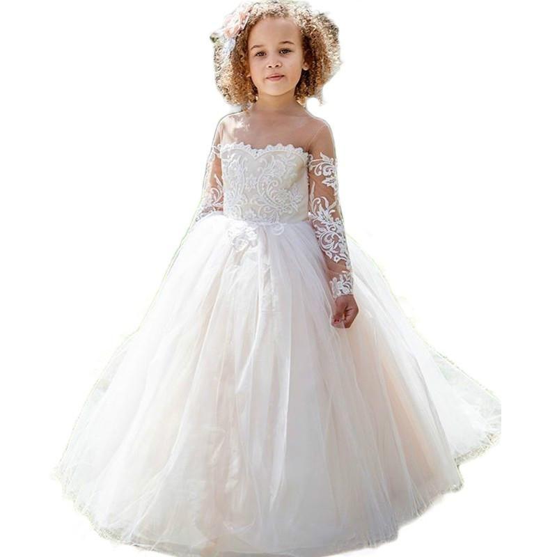 fda337d4d Lace Long Sleeve Flower Girls Dresses See Though O Neck Ball Gown Girls  Wedding Party Dress Vestidos De Primera Comunion White Flower Girl Dresses  Baby ...