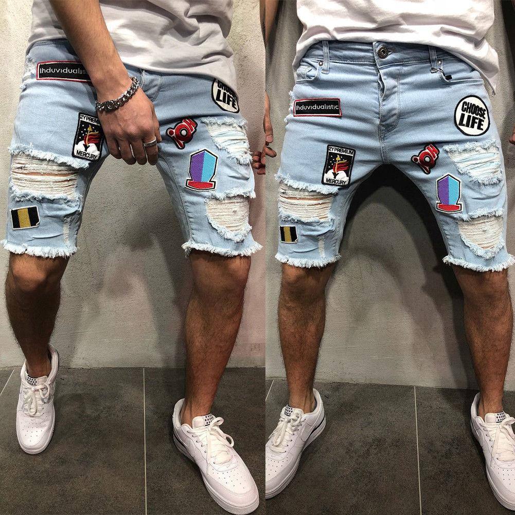 Summer Fashion Mens Ripped Jeans Skinny Shorts Jeans Destroyed Frayed Denim Cartoon Attach Biker Short Knee Length Trouser