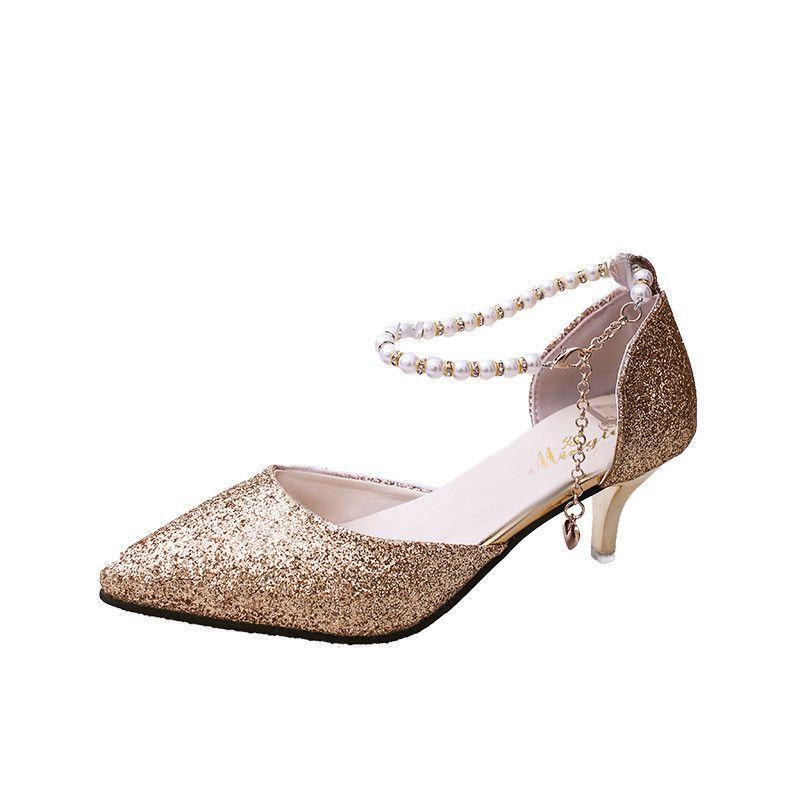 check out 43712 b470b Sexy High Heels Schuhe Frau Gold Silber Hochzeit Schuhe Braut High Heels  Frauen Sandalen Damen beautifuly String Perlenkette Schuhe 2019