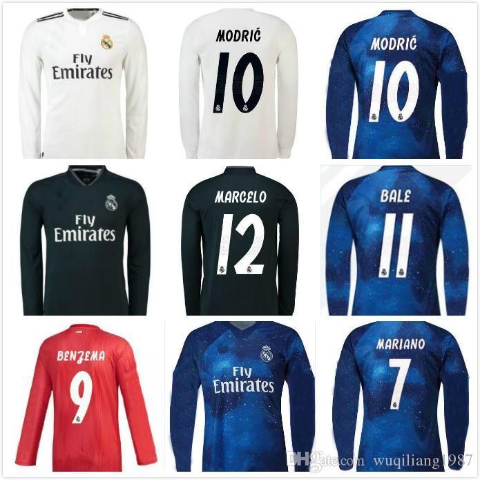 official photos c3a9b 1448e S-2XL Real madrid MARIANO Modric Long sleeve Soccer Jersey Benzema 18 19  ISCO Madrid Kroos Sergio Ramos Bale Marcelo 2018 2019 ASENSIO shirt