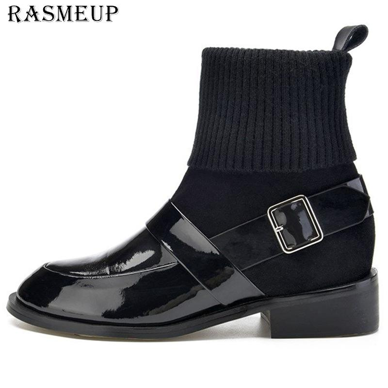 800aa41aaa3 RASMEUP Patent Leather Sock Boots Women 2018 Fashion Elegant Concise Women  s Martin Ankle Boot Black Comfortable Stretch Shoes