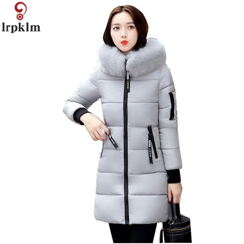Women's Winter Jacket Long Cotton Padded Parkas Ladies Fur Collar Plus Size Cotton Jacket Thick Female Winter Clothes CH419 T190610