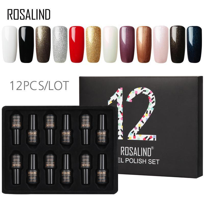 12PCS / LOT ROSALIND Gel Verniz Set 7 ml de longa duração Pure Color Nail Art Manicure Set Precisa Base de Top Coat unhas de gel polonês