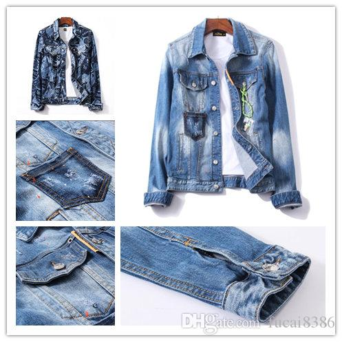Mens Jackets Ripped luxury Denim Jackets Zippers Distressed Motorcycle Biker designer Jeans Jacket Spring and autumn men Jacket coat M-2XL