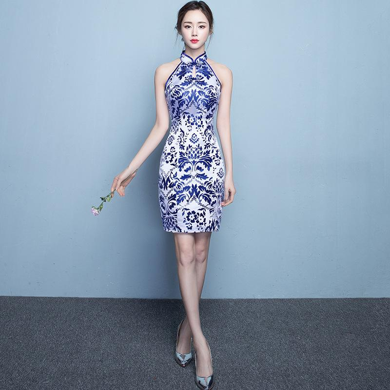 Traditional Chinese Wedding Cheongsam Retro Blue White Porcelain Slim  Embroidery Wedding Dress the Bride Cheongsam Size S-3XL D19011601 Online  with ... ec634be662ed