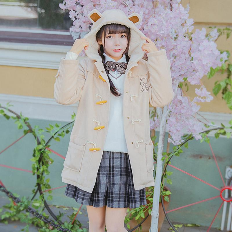 72294dc351 2019 Winter Women Hooded Wool Coat With Velvet Sweet Bear Embroidery ...