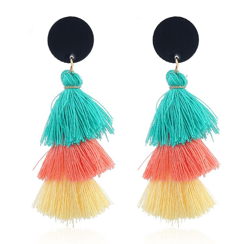 Tassel Earrings for Women Fashion Jewelry Face Fringed Tiny Drop Earring Female Jewellery Gift Bohemian Statement Earrings