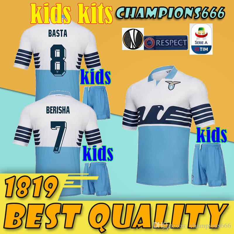 3f725541bb0 2019 Lazio Soccer Jersey Kids Kit 18 19 Home Blue Away White Third Black  LUIS ALBERTO Berisha IMMOBILE LULIC Boy Set 2018 2019 Football Uniform From  ...
