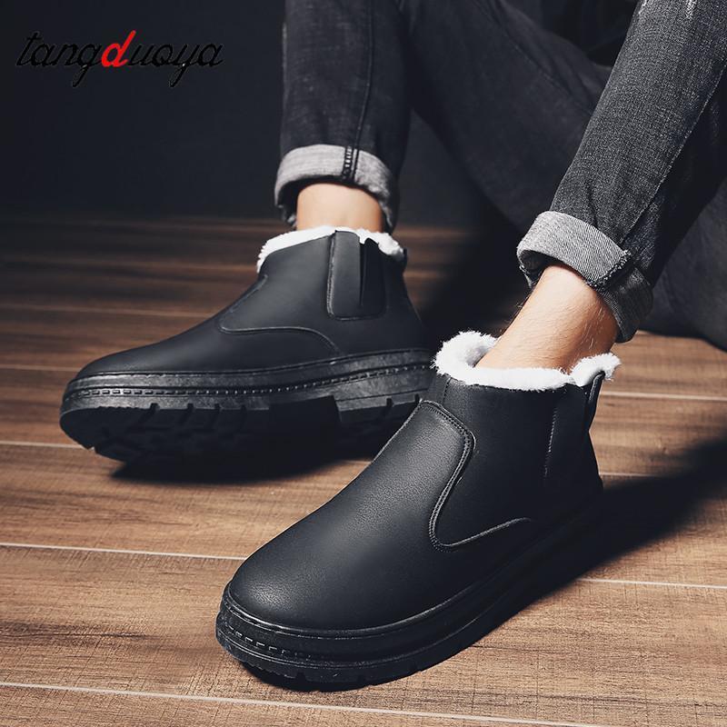 8d756557e8 Mens Shoes Casual Slip on Winter Boots Men Waterproof Shoes Men ...