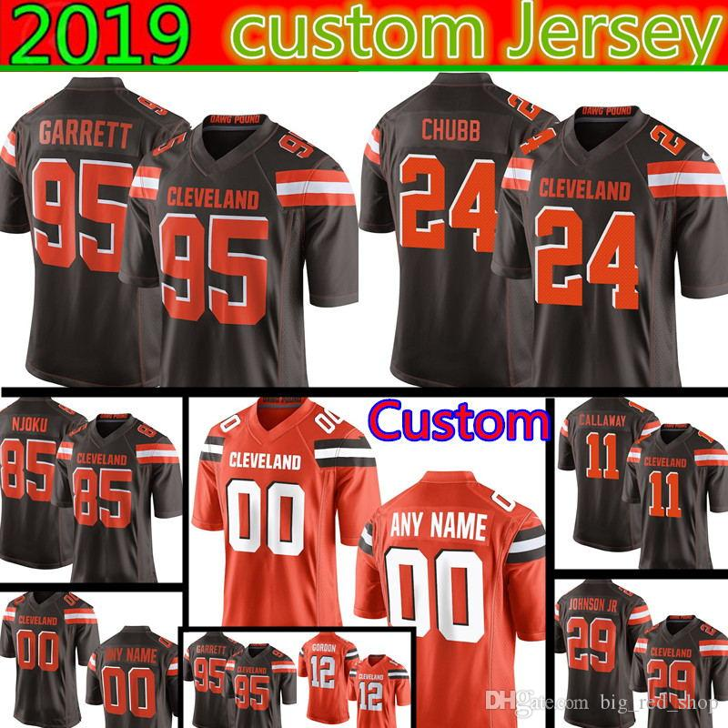 ecadcfc31cb7 2019 Cleveland Custom Browns Jersey 95 Myles Garrett 24 Chubb 85 David  Njoku 29 Duke Johnson Jr 53 Joe Schobert 92 Thomas 23 Randall From  Big red shop