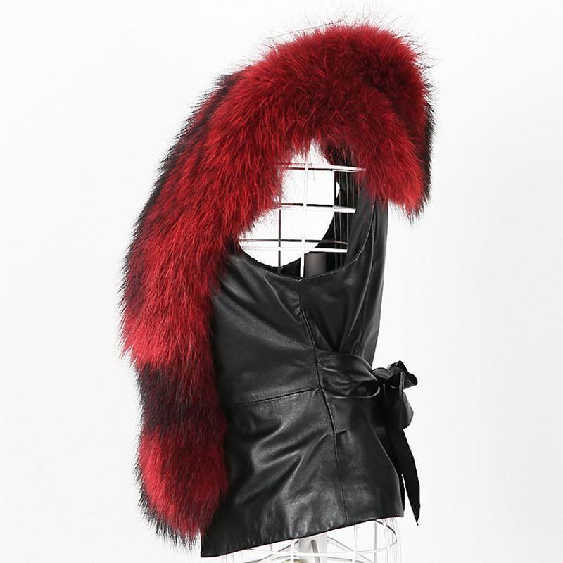 ALABIFU PU Leather Faux Fur Women Winter Coat 2018 Casual Plus Size Sleeveless Faux Fox Fur Collar Vest Winter Jacket Coat Women