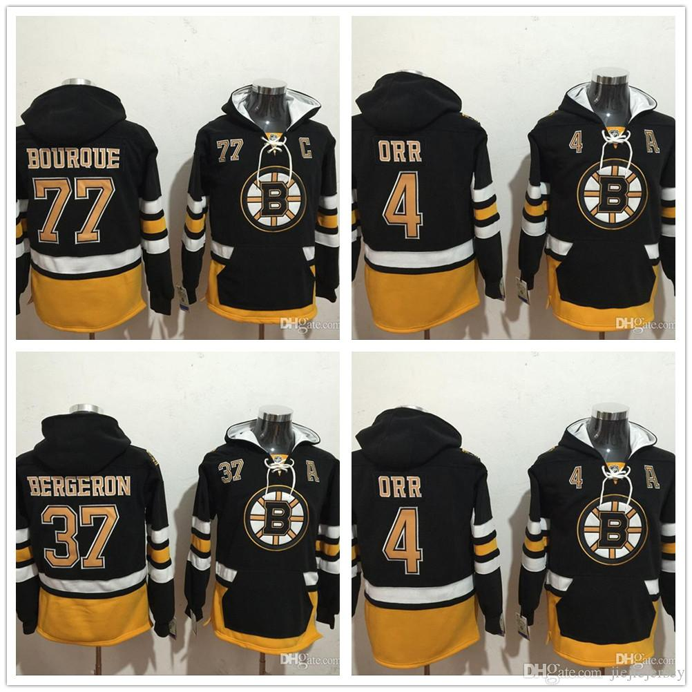 quality design 3d360 957ad 2018 new NHL Mens Boston Bruins Jersey #4 Bobby Orr 37 Bergeron 77 Bourque  Black Hooded Pullover Stitched Sweatshirt Hoodie