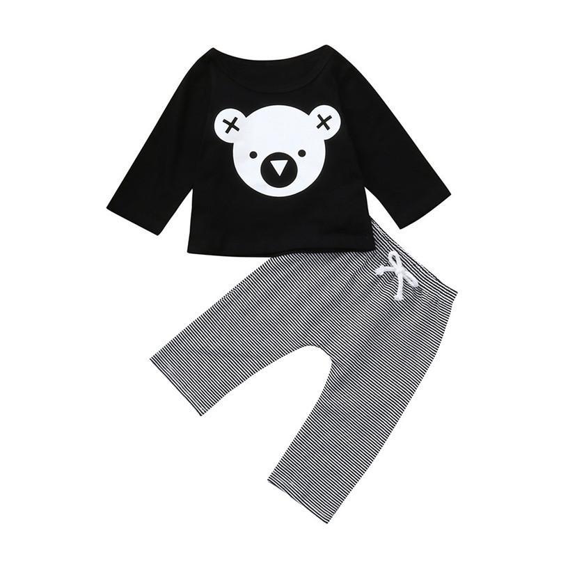 e87f6a8a5a825 Winter 2PCS Kids Clothes Toddler Baby Boy Girls Cartoon Koala Printed Long  Sleeve Tops+Striped Pants Set Clothes Baby Set JY30#F
