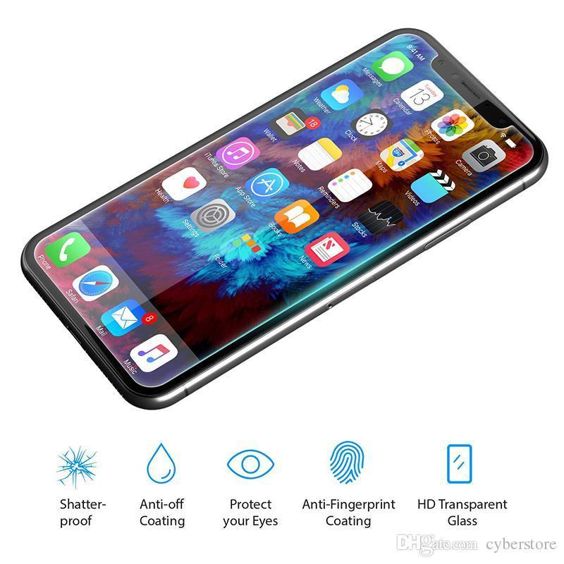 Para el iPhone XS MAX XR X 7 8 6 Plus Galaxy S6 Note 5 Premium Protector de pantalla de cristal templado Huawei Mate 20 Pro
