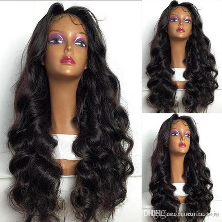 Body Wave Natural Black and Dark Brown Synthetic Lace Front Wig With Baby Hair Heat Resistant Synthetic Wigs