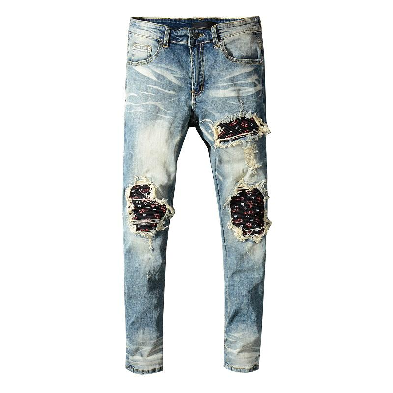 New Jeans Men Blue Casual Skinny Jeans Men Slim Zipper Biker Hip Hop Ripped For Stretch Denim Pants Big Sizes