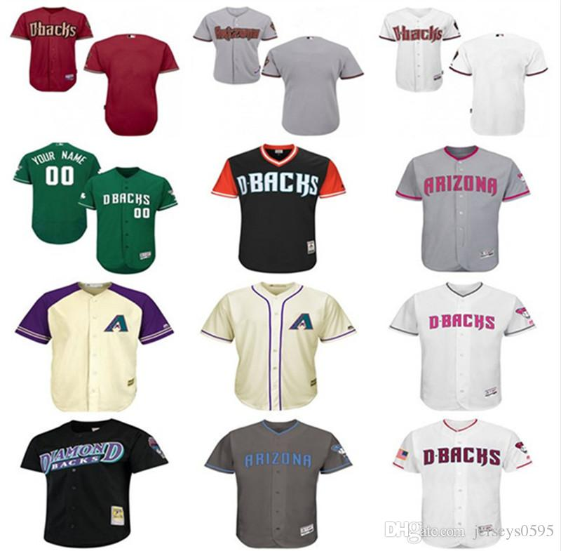 2201b15dc24 custom Men s women youth majestic Arizona Diamondbacks Jersey Any Your name  and your number Home Blue Grey White Kids Girls Baseball Jerseys