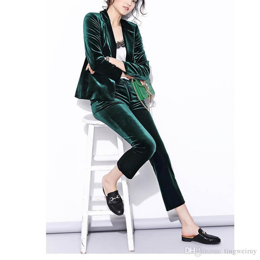 Velvet Pant Suits Women Pant Suits Spring New High Street Shine
