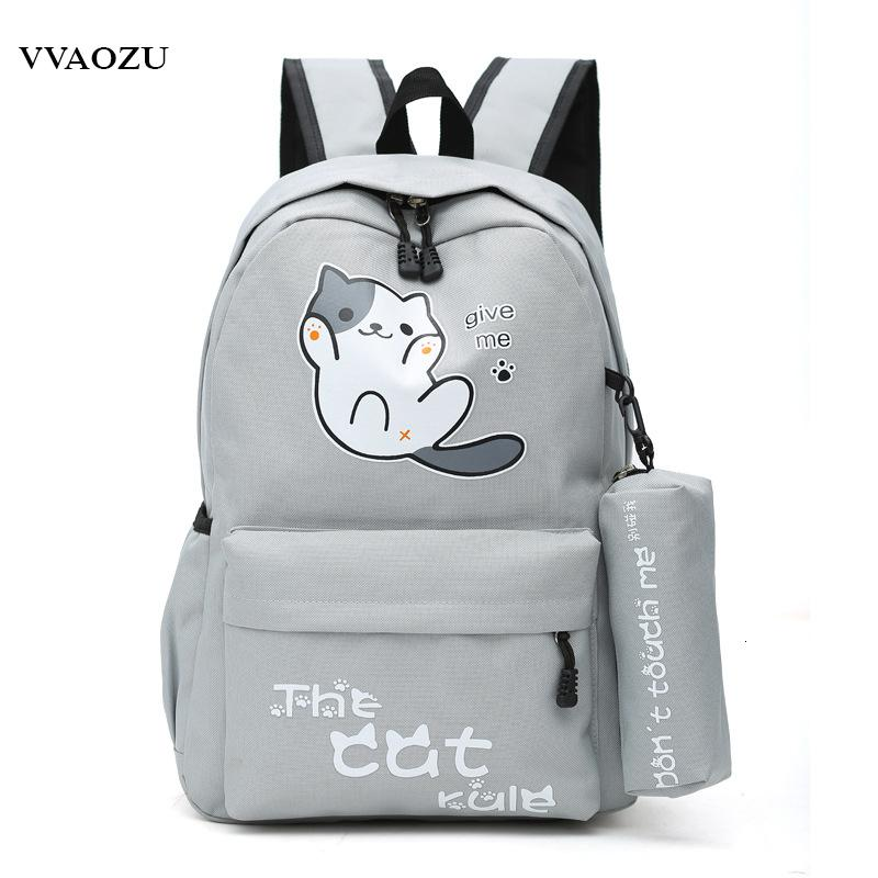 Ombro Anime Japão Neko Atsume Cat Backyard lona dos desenhos animados Travel Bag Schoolbag Backpack Mochilas para adolescentes Rapazes Raparigas CJ191201