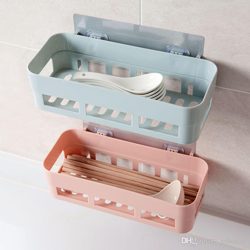 2019 Bathroom Shelf Wall Hanging Seamless Storage Rack Bathroom Punch Free  Strong Paste Suction Cup Rack Bathroom Dormitory Plastic Wall Hanging From  ...