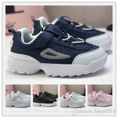 Disruptors II 2 Kids Shoes For Boys Girls Black Luxury designer Children's Shoes White Sand Grey Gold FILE Sports Sneaker Running Shoes28 35