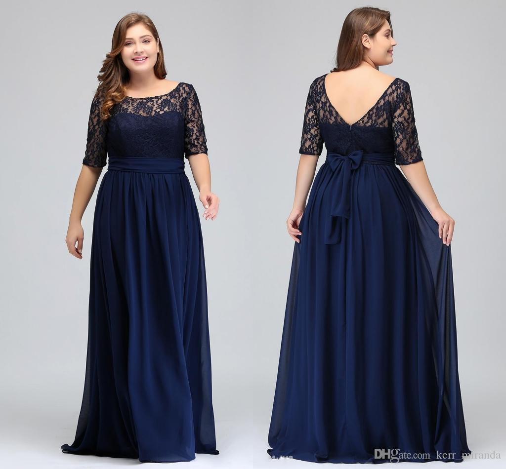 Dark Navy Lace Chiffon Half Sleeves Prom Dresses Lace Top A Line Chiffon V  Back Mother of Bride Dresses Plus Size Gowns HY5035