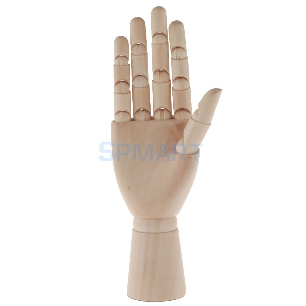 Artist Drawing Hand Manikin Articulated Sectioned Posable Mannequin Hand Wood Flexible Fingers For Jewelry Display Right Hand