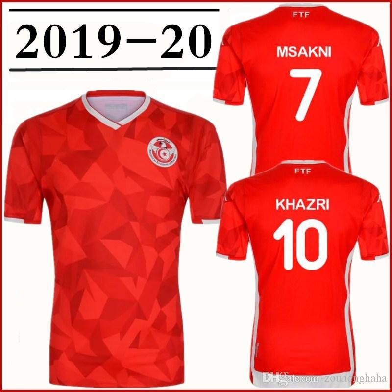 sports shoes 0614c 7ed4c Tunisia soccer jerseys 2019 national team Msakni Khazri Sliti Anice Badri  Khaoui Bassem Srarfi HOME football shirts