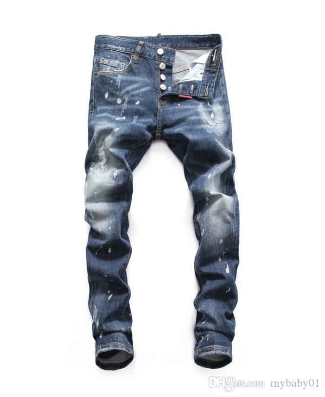 2019 Fashion New Jeans High Quality Men Designer Jeans Patch Slim Paint Little Feet Locomotive Mens Jeans