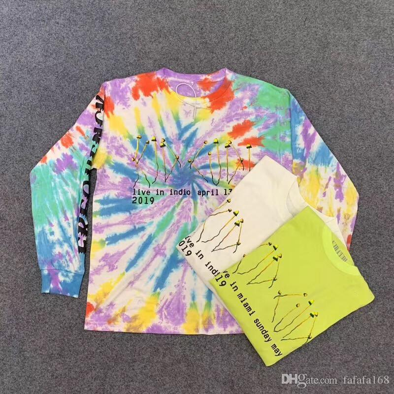Long sleeve Kanye CPFM XYZ Illusions Tie Dye shirt Tee Men Women ASTROWORLD TRAVIS SCOTT t-shirts
