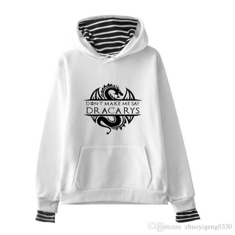 db4045c8a7d15 Fake Two Piece 2019 Hot Sale New Fashion Dracarys Hoodies Women Long Sleeve  Casual Striped Hooded Sweatshirt Streetwear Clothes