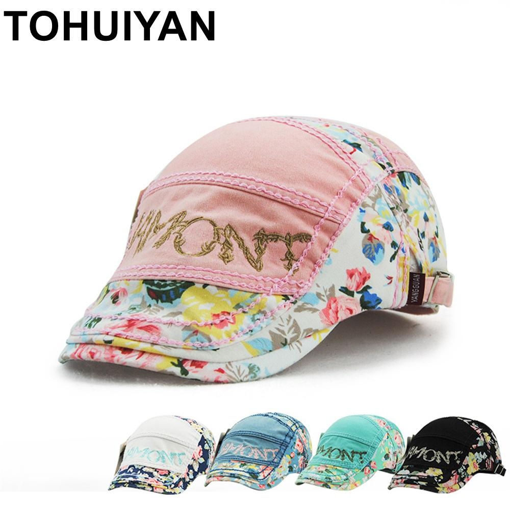 78263b6301d9aa TOHUIYAN Womens Floral Printed Newsboy Cap Duckbill Visor Artist Ivy Beret  Hat Autumn Fashion Cabbie Peaked Hats Boina For Girls Summer Hats For Women  ...