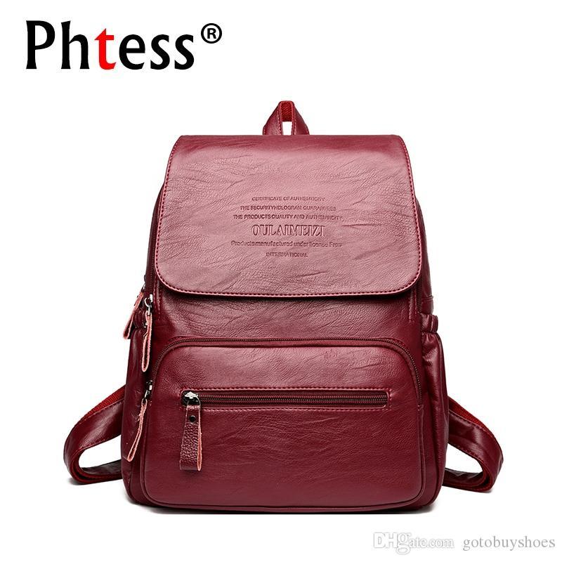 2018 Vintage Leather Backpacks Female Travel Shoulder Bag Mochilas Women  Backpack Large Capacity Rucksacks For Girls Dayback New  43810 Backpacks  For Men ... f3c3fa56fcb0
